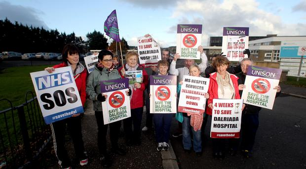 Protesters staging a demonstration outside Dalraida Hospital in Ballycastle on Monday