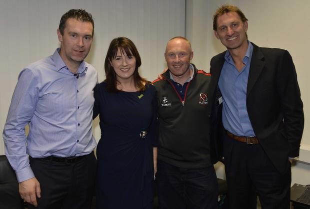 Tony Adams and Oisin McConville pictured with Sport NI Chief Executive Antoinette McKeown and Director Emma Bohill at the launch of Sport NI's Positive Mental Health and Well-Being Programme