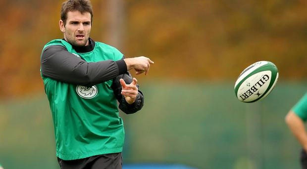 Ready for lift-off: Ulster's Jared Payne at Ireland training yesterday at Carton House, Co Kildare