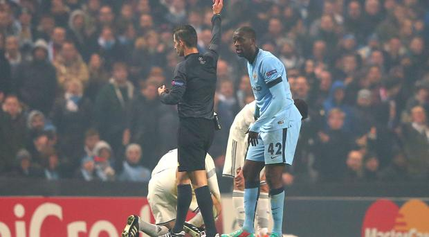 Marching orders: Yaya Toure becomes City's second dismissal in the defeat to CSKA Moscow