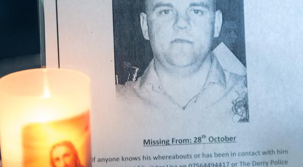 The poster for missing Derry man Steven McCloskey, whose empty jeep was found at Burt in Co. Donegal. Picture Martin McKeown. Inpresspics.com
