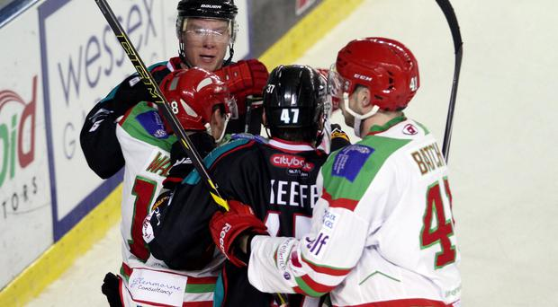Standing tall: Adam Keefe gets stuck in during Giants defeat last night in Cardiff