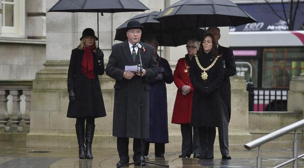 Press Eye Ltd Tuesday 11th November 2014 Hundreds of people gather along with Lord Mayor Nicola Mallon at the City Hall in Belfast to remember the people who have gave their lives for their Countries in previous wars. Photographer Stephen Hamilton / Press Eye