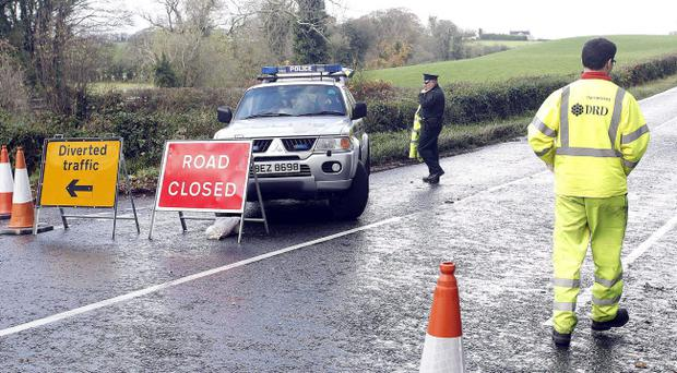 The Lurgan Road in Dromore has been closed due to subsidence. Pic Aidan O'Reilly