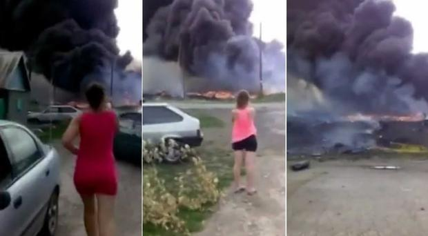Images from the video footage captured in Hrabove, Ukraine