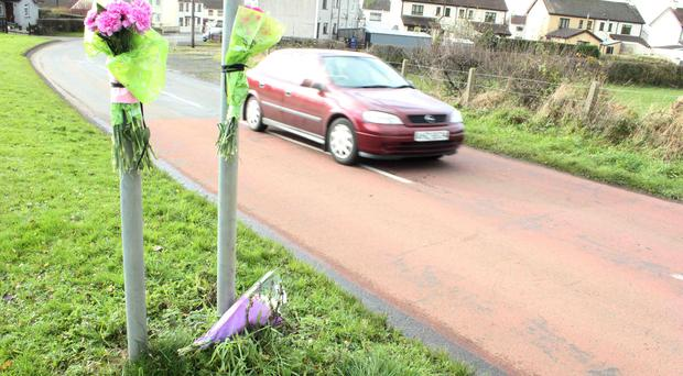 Flowers at the scene in Cloughmills were 8-year old Adam Gilmour was killed on Monday morning on route to school.PICTURE MARK JAMIESON.