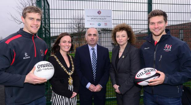 Pictured (L-R)Ulster Rugby's Andrew Trimble, Belfast Lord Mayor Nichola Mallon, Aquinas Diocesan Grammar School Principal Mr Barry Kelly, Sports Minister Caral Ni Chuilin and Ulster Rugby's Michael Allen. Pic Arthur Allison