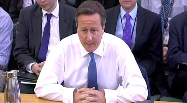 Prime Minister David Cameron appears before the Liason Select Committee in the House of Commons