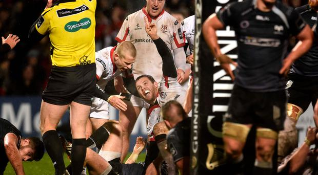 What about that? Darren Cave enjoys the moment after scoring the crucial late try for Ulster