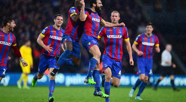 Crystal Palace's Mile Jedinak (centre) celebrates scoring their third goal of the game with team-mates during the Barclays Premier League match at Selhurst Park, London. Adam Davy/PA Wire.