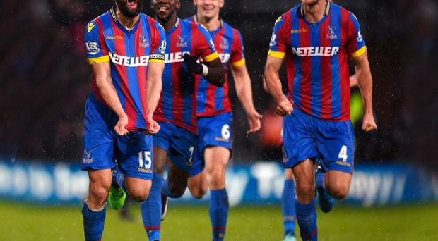 Running away with it: Mile Jedinak celebrates his superb free-kick which sealed Palace's victory