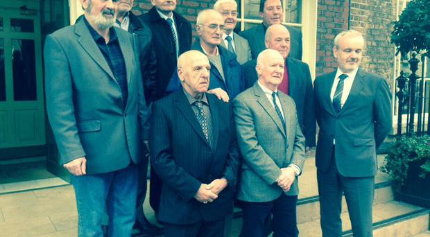 The 'hooded men' at a press conference in Dublin with Colm O'Gorman from Amnesty International. Picture by Amnesty International