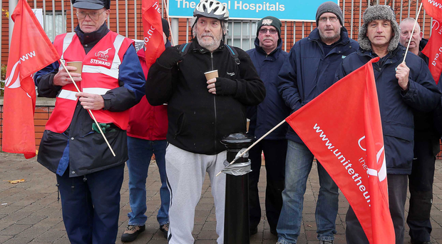 Strikers at the Royal Hospital in Belfast. Picture by Jonathan Porter / Press Eye