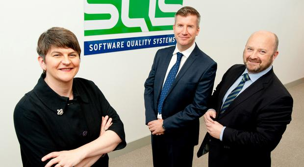 Pictured is Arlene Foster, Rob McConnell, Market Director SQS Northern Ireland and Phil Codd, Managing Director SQS Ireland