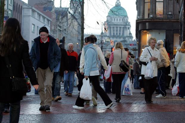 Shopping:Early morning Christmas Eve shoppers in Belfast's Royal Avenue