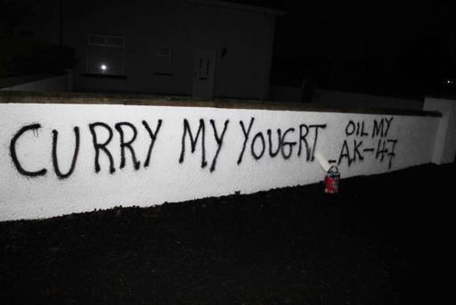Graffiti at the home of Coleraine Mayor George Duddy. Sunday night's attack was the fourth in 18 Months. Picture by Mark Jamieson.