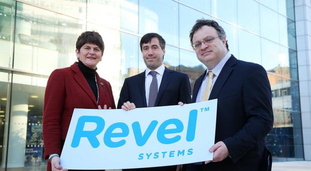 Jobs Arlene Foster and Employment and Learning Minister Dr Stephen Farry with Chief Technology Officer and Co-founder of Revel Systems Chris Ciabarra. Pic Kelvin Boyes