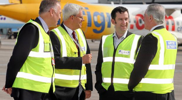 Steve Turner (second right) of Lagan Construction International says the firm will 'self-perform' a large proportion of the works