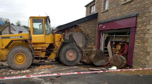 The scene in Aughnacloy where a digger was used to steal a cash point