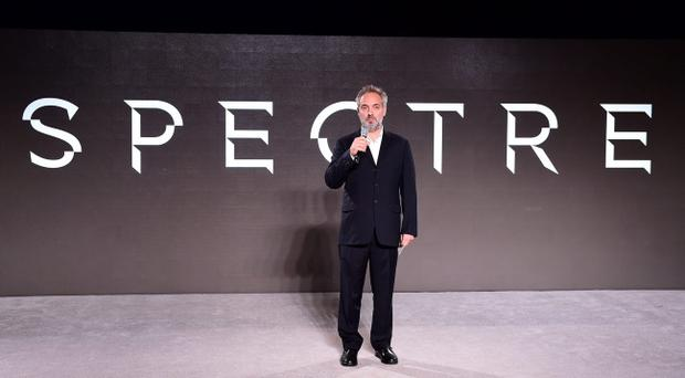 Director Sam Mendes at the revealing of the new James Bond film at Pinewood Studios in Buckinghamshire