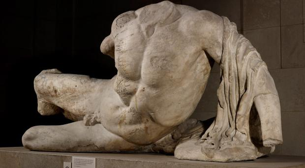 The headless statue of the river god Ilissos found in the Parthenon in Athens, Greece nearly 2,500 years ago