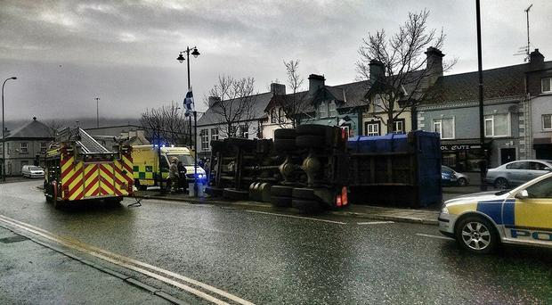 A lorry overturns in Warrenpoint town centre. Pic www.visitwarrenpoint.com