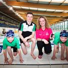A feast of swimming: Pictured l-r are: James Callaghan, Ards Swimming Club; Commonwealth Swimmer Conor Munn, Ards Swimming Club; Deirdre Burns, Marketing Manager, Forest Feast and Jenna Newell, Ards Swimming Club