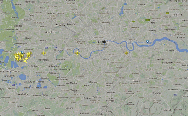 This Flightradar24 image shows few flights in the airspace over London