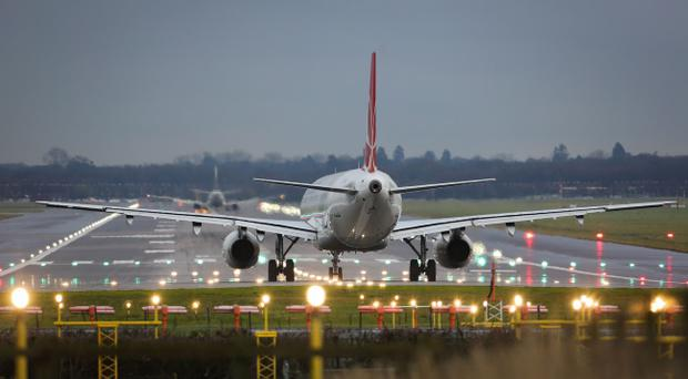 Gatwick Airport in West Sussex, as flights at southern England airports have been suspended due to a problem at the UK air traffic control centre