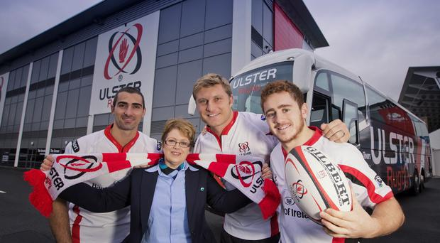 Winning partnership: Alana Gordon from Ulsterbus Tours is joined by Ulster Rugby players Ruan Pienaar, Franco Van Der Merwe and Paddy Jackson to announce Ulsterbus Tours as the team's Official Coach Travel Partner
