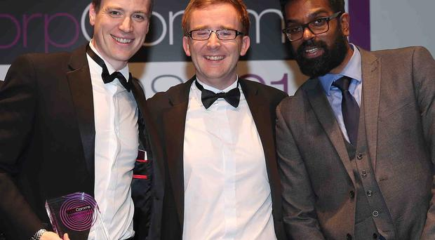David Beattie, Internal Communications Channel Manager, TheAppBuilder; Will Day, Digital Technology Communications Manager, Heathrow Airport; Romesh Ranganathan, Event Host, CorpComms 2014