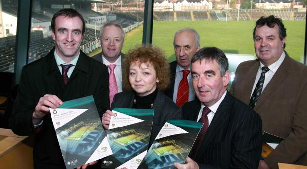 Back to the drawing board: Environment Minister Mark H Durkin with Sports Minister Caral Ni Chuilin and officers of the Ulster Council of the GAA at Casement redevelopment launch