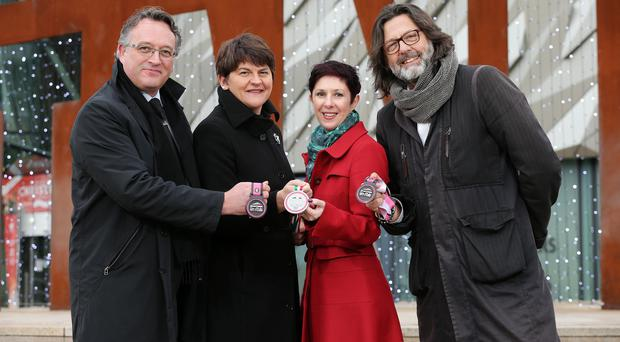 Darach McQuaid, Shadetree Sports; Enterprise Minister Arlene Foster; Susie McCullough, NITB and Andrea Trabuio, RCS Sport Director of Mass Events. 16th December 2014 - Picture by Kelvin Boyes / Press Eye.
