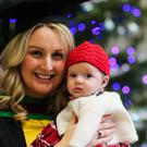 Anne Durkin (Masters in Communications Advertising & Public Relations) pictured with 11 week old daughter Lily at the winter graduation at the Ulster University. Picture John Murphy Aurora PA