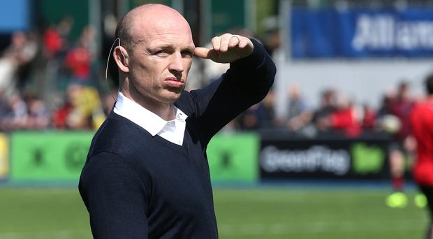 Taking the Humph: Matt Dawson looks in vain for David Humphreys to make an appearance in Llanelli