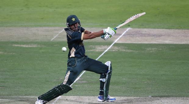 Pakistan batsman Younis Khan plays a cut-shot during the fourth ODI against New Zealand in Abu Dhabi