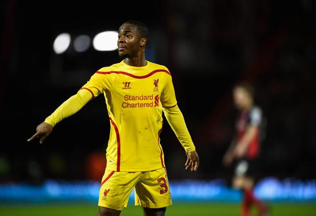 Raheem Sterling of Liverpool makes his point during the Capital One Cup Quarter-Final match between Bournemouth and Liverpool at Goldsands Stadium on December 17, 2014 in Bournemouth, England. (Photo by Mike Hewitt/Getty Images)