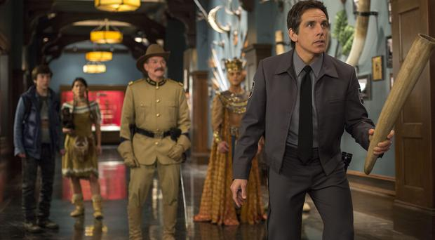 Lost goodbye: from left, Robin Williams in his final film role, with Rami Malek and Ben Stiller