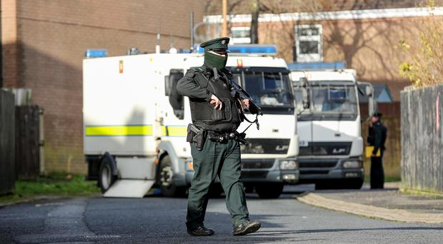Police and ATO at the scene of a Security Alert in the Colinbrook Park area of Poleglass in West Belfast Pic.Kevin Scott / Belfast Telegraph