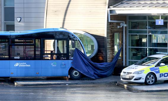 Police at Lisburn Bus station following a death at around 10am when a bus struck a member of the public on the platform. Pic: Kevin Scott / Belfast Telegraph