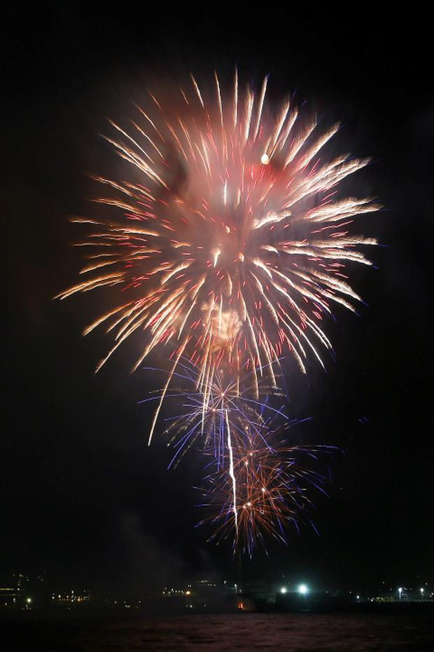 The New Year's Eve midnight fireworks display brings in the New Year in Wellington, New Zealand