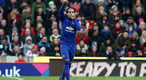 Radamel Falcao of Manchester United celebrates equalising against Stoke (Photo by Jan Kruger/Getty Images)
