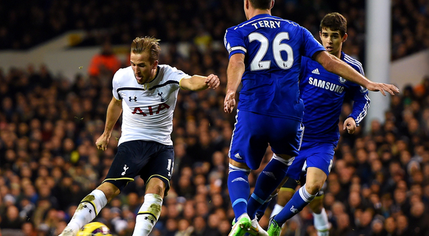 Hurri-Kane: The Spurs striker lashes home his first goal of the game to cancel out Chelsea's early lead