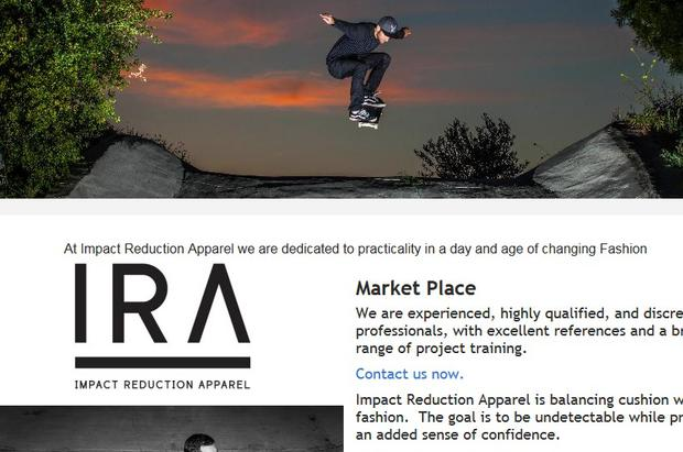 The website of US skateboarding brand Impact Reduction Apparel