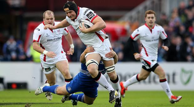 Leinster's Richardt Strauss and Dan Tuohy of Ulster. Pic James Crombie