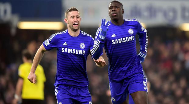 Chelsea's Kurt Zouma (right) celebrates scoring his side's third goal of the game with Gary Cahill during the FA Cup, Third Round match at Stamford Bridge, London. Adam Davy/PA Wire.