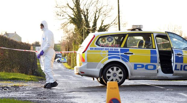 Pacemaker press 8/1/14 Police are treating the death of a man in his 60s near Randalstown, County Antrim, as murder.Picture Mark Marlow/pacemaker press