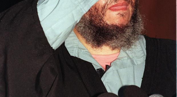 File photo dated 06/04/03 of radical cleric Abu Hamza who has been sentenced to life in prison for a string of terrorism offences by a New York judge. John Stillwell/PA Wire.