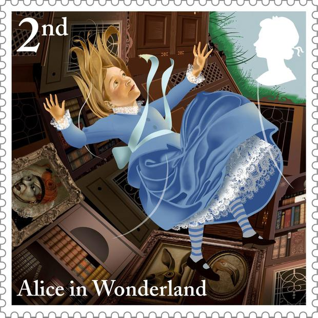 One of the stamps from the Alice in Wonderland series, which has been issued to celebrate the 150th anniversary of Lewis Carroll's classic tale