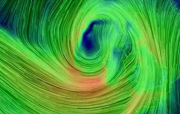A satellite picture of Storm Rachel closing in on the British Isles
